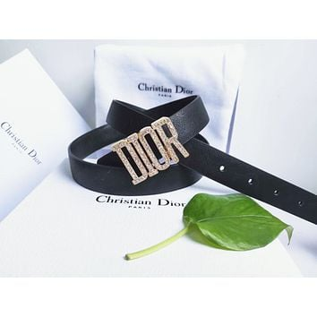 Dior Tide brand men's and women's diamond-studded smooth buckle belt black