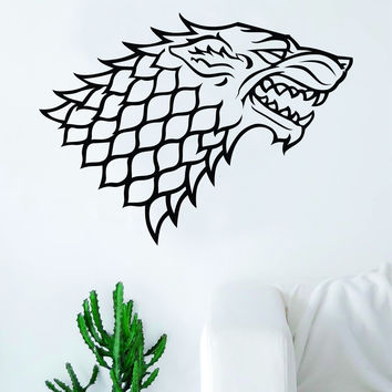 Game of Thrones House Stark Decal Sticker Wall Vinyl Living Room Bedroom Art Decor TV Shows Wolf