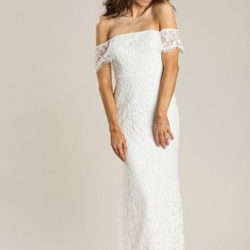 Delilah White Off the Shoulder Lace Maxi Dress