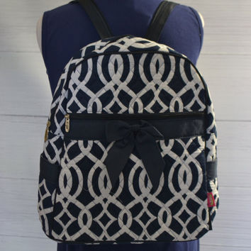 Monogram Quilted Backpack, Monogram Gift, Monogram Vine Backpack, Monogram Back to Shcool, Monogram Carry on