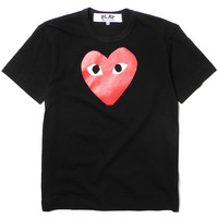 Cotton Jersey Print Red Heart Tee Black