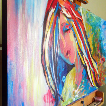 Large ABSTRACT PAINTING Large Artwork Girl Bedroom Art by R. Christov