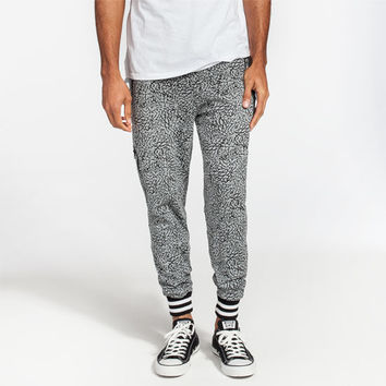 Well Versed Elephant Print Mens Jogger Pants Black/Grey  In Sizes