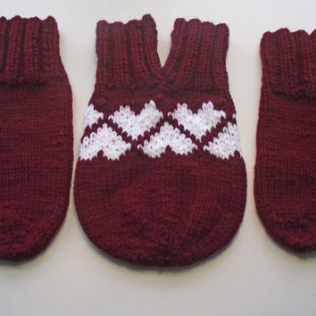 Smittens, Love-Glove Set, Couples Mittens, Burgundy + White Hearts, Claret Knitted Double Mitten, Maroon Lovers Mittens, Valentines Day Gift