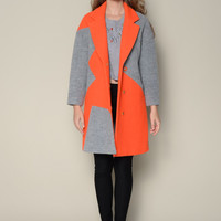 Casual Color Block Woolen Coat