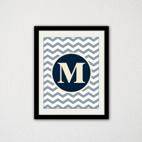 "Custom Initial Print. Nursery. Baby boy. Baby wall art. Chevron. Typography. Modern. Baby Shower. Teen Bedroom. 8.5x11"" print."