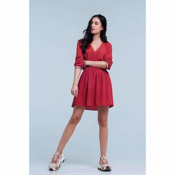 Red Printed V-neck Mini Dress