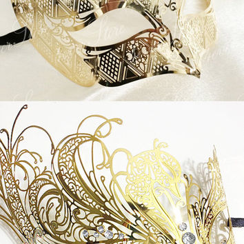 Couples Masquerade Mask, His & Hers Couples Masquerade Mask, Gold Masquerade Masks, Masquerade Ball Mask, Halloween Costume Mask