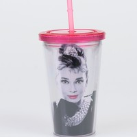 Pink Breakfast At Tiffany's Audrey Hepburn Acrylic Travel Cup