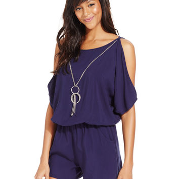 BCX Juniors' Cold-Shoulder Necklace Romper