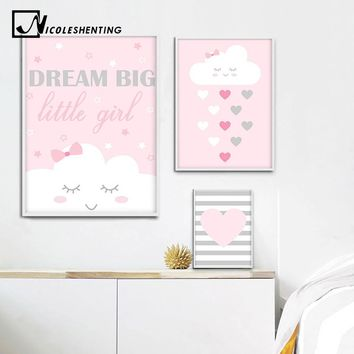 Cartoon Smile Cloud Nursery Wall Art Canvas Painting Minimalist Poster Print Nordic Kids Decoration Picture Baby Girl Room Decor