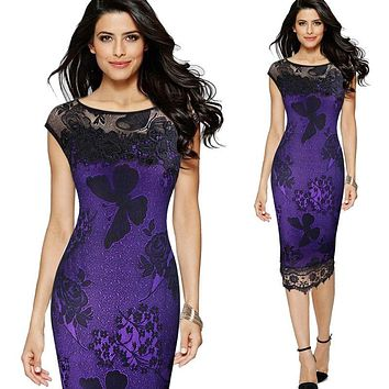 S XXL 5XL Plus Size 2017 Women Pencil Dress Summer Fashion Exquisite Sequins Crochet Butterfly Lace Party Bodycon Dress