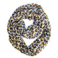 Flower and Polka Dot Infinity Scarf, Eternity Scarf, Tube Scarf, Blue, Yellow, Brown, White