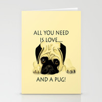 Love and a Pug Stationery Cards by Veronica Ventress