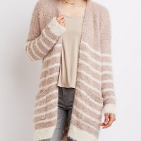 Striped Fuzzy Oversized Cardigan