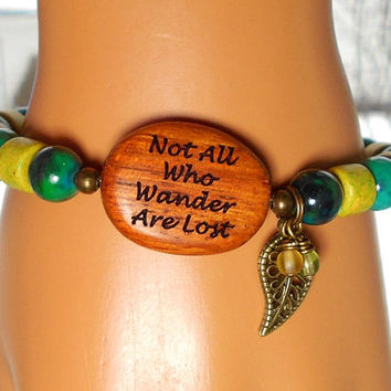 Not All Who Wander Are Lost, Nature Bracelet, Wood Bracelet, Leaf Bracelet, Boho Bracelet, Green Bracelet, Bohemian Bracelet
