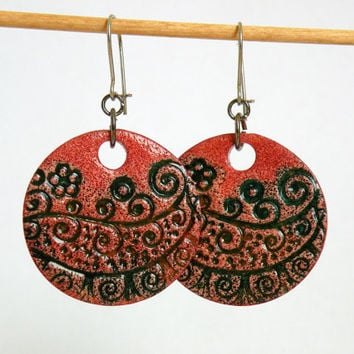 Red-Green Earrings made from Polymer Clay with Faux Ceramics Technique / Optional clip-on