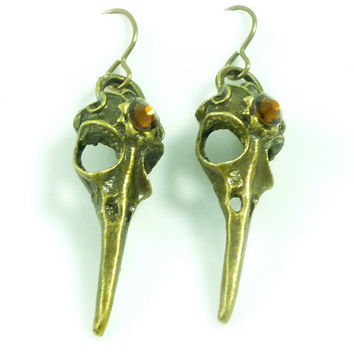 VictorianFolly SteamPunk Bird Skull Earrings with BrownCoat Brown Swarovski Crystal