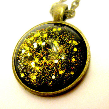 Galaxy Necklace Outer Space Jewelry Planet Pendant Black and Gold Glitter Galaxy Asteroid Necklace Science Astronomy Astrology Constellation