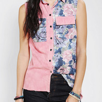 Pins And Needles Floral Sleeveless Chambray Shirt