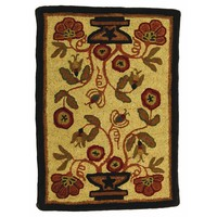 Potted Flower Hooked Wool Rectangle Rug