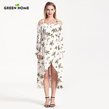 High Waist Floral Print Maternity Nursing Dress