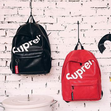 Stylish Supreme Fashion Leather Daypack Travel Bag School Bag Bookbag Backpack