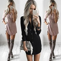 Autumn Dress Fashion Women's Ladies Loose Chiffon Dresses Long Sleeve V-Neck Shirt Casual Single Breasted Vestido De Festa