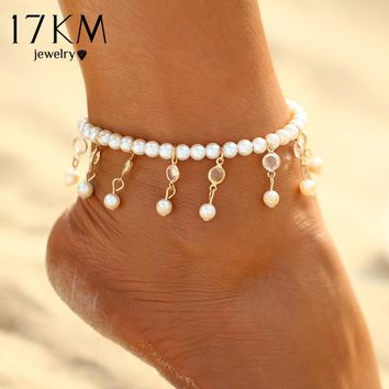 17KM Bohemian Imitation Pearl Anklets For Women Sexy Ankle Bracelet Sandals Pulseras Tobilleras Mujer Foot Jewelry Gifts 2017