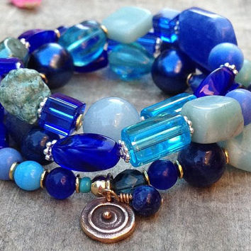 Blue and turquoise gemstone beaded bracelet stretch wrap bracelet natural gemstone jewelry handmade gifts for her birthday gift ideas