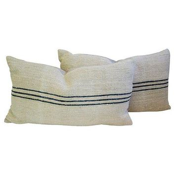 Pre-owned French Grain Sack & Linen Pillows - A Pair