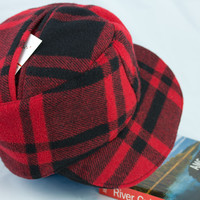 Red and Black Lumberjack Plaid Baseball Cap | Wool Ballcap Cadet Hat in Red and Black Buffalo Plaid Wool