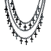 Black Gothic Victorian Cross Necklace Deathrock Vampire