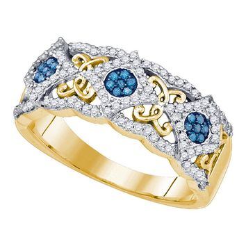 10kt Yellow Gold Womens Round Blue Color Enhanced Diamond Cluster Filigree Band 3/8 Cttw