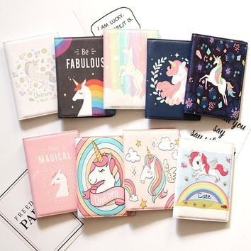 16 Different New Style Unicorn Passport Cover PU Leather Unisex Credit Card Holder Fashion Animal Prints Passport holder Unicorn