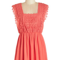 ModCloth Boho Long Sleeveless Castle Tour Tunic in Coral