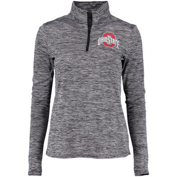 Ohio State Buckeyes Women's Stand Out Space Dye 1/4 Zip Jacket - Black