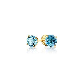 Blue Topaz CZ Round Stud Earrings Real 14K Yellow Gold Screwback