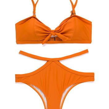 X-HERR Womens Tie Knot Front Bikini Set Padded Top Cut Out Bottom Two Piece Swimsuit (Orange,Large)
