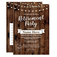 Retirement Party Rustic Bucket List Wood Invite