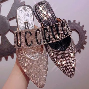 GUCCI Color Lettering Sparkling Rhinestone Pointed Baotou Flat Comfort Sandals F-M-ASML silver&black