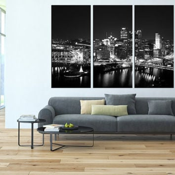 pittsburgh wall art Canvas Print, extra large wall art, citycape art, pittsburgh skyline wall art, pittsburgh contemporary wall decor t108