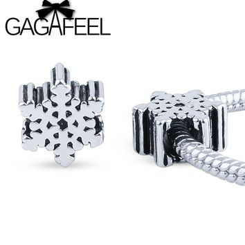 GAGAFEEL 2017 New DIY making Jewelry Snowflake Beads Charm Fit Pandora European Bracelet Necklace Christmas Gifts
