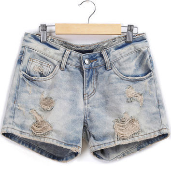 Pale Blue Distress Denim Shorts