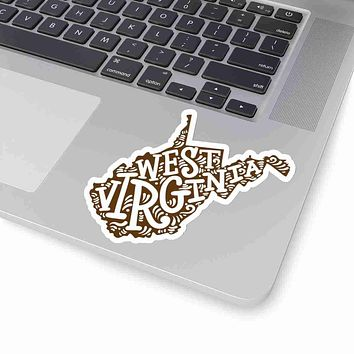 West Virginia State Shape Sticker Decal - Brown