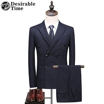 Men Grey Double Breasted Suit Fashion Slim Fit Striped Business Suits