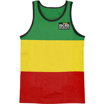 Bob Marley Men's  Rasta Stripe Mens Tank Green, Yellow & Red Rockabilia