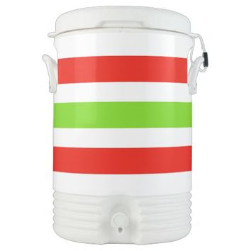 Stripes White Red Green Cooler