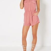 Pink Challis Zipped Romper | Jumpsuits & Rompers | rue21