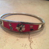 Vintage Alpaca Silver Bracelet Pink with Abalone Flower Inlay Mexico